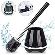 MEXERRIS Toilet Brush and Holder Set Stainless Steel with Soft Silicone Bristle – Sturdy Cleaning Toilet Bowl Brush Set for Bathroom Storage and Organization - Tweezers Included (Black)