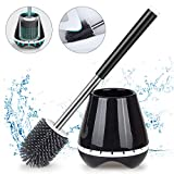 MEXERRIS Toilet Brush and Holder Set for Bathroom with Soft Silicone Bristle Sturdy Cleaning Toilet Bowl Brush Set for Bathroom Storage and Organization - Tweezers Included (Black)