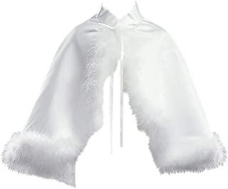 Little Girls Satin Cape Feathers Bolero Jacket Cover Shrug Sweater Christmas