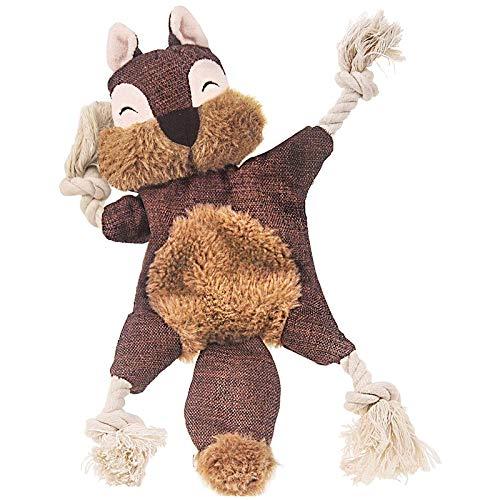 SODIAL Stuffless Hunde Spielzeug für Welpen, Knittern Quietschende Hunde Kau Spielzeuge Eichh?Rnchen PlüSch Hunde Spielzeug mit Seilknoten für Kleine Hunde