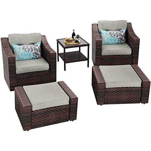 YITAHOME 5 Piece Wicker Patio Furniture Sets, Outdoor Lounge Chair with Ottoman and Side Table & Beige Olefin Fabric Cushions, Brown