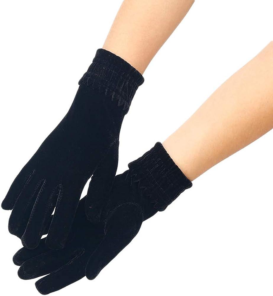 Winter Touchscreen Gloves for Women, Warm Thick Fleece Windproof Mittens Short Satin Gloves Opera Gloves Wrist Length