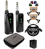 NUX B-5RC Wireless Guitar System for Electric Guitars, Bass, Ukuleles, Active Pickups Bundle with Blucoil USB Wall Adapter, 3-FT USB 2.0 Type-A Extension Cable, 4X Patch Cables, and 4X Guitar Picks