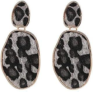 Earrings Sexy Leopard Geometric Street Beat Earrings For Lady(Red) Earrings (Color : Grey)