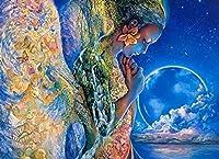 大人のための番号による地球の女の子DIYペイント初心者オイルキャンバスアートアクリルリビングホームウォールデコレーション40x50cm(フレームレス)