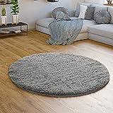 TT Home Hochflor Teppich Grau Wohnzimmer Shaggy Langflor Moderne Einfarbige Muster, Farbe:Grau 2, Größe:Ø 80 cm Rund