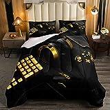 Erosebridal Gamer Comforter Sets for Boys Queen Size Gaming Duvet Insert Gold Keyboard Bedding Set,Teens Young Man Gamepad Bedding Game Controller Bedroom Decor Black