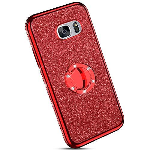 Ysimee kompatibel mit Samsung Galaxy S7 Hülle, Bling Schutzhülle Glänzend Weiche TPU Silikon HandyHülle Bumper Case mit Ring 360 Grad Ständer, Diamant Glitzer Case, rot
