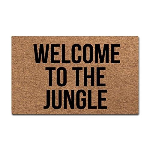 Sun&Home - Felpudo Personalizable para Puerta, diseño Divertido y Divertido, Tela no Tejida y Antideslizante, Caucho, Welcome to The Jungle, 18x30 Inch