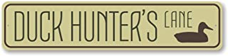 Tin Sign 16x4 Inches Duck Hunter's Lane Sign, Custom Lake House Street Sign, Metal Duck Lover Gift, Hunting Man Cave Lake Decor - Quality Aluminum -