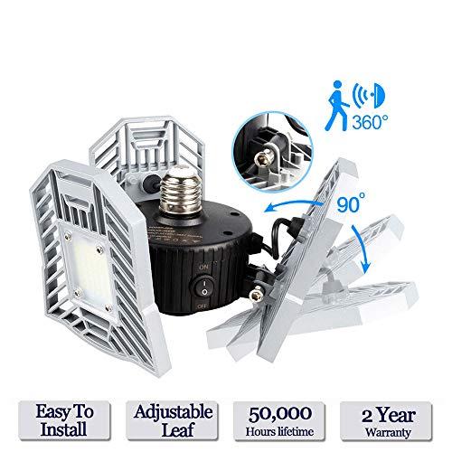 Deformable LED Garage Lights Motion Activated - Led Deformable Garage Light Tanbaby Garage Light Motion Activated LED Ceiling Light, Radar Home Lighting for Garage, Warehouse,Workshop,Basement (Radar)