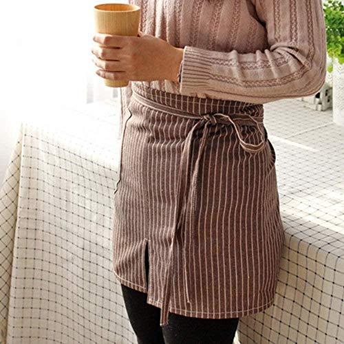 Daily996 1P Delantal de algodón a rayas con cintura para restaurante, camarera, barman, panadería, uniforme de catering, floristería, jardinero, ropa de trabajo, marrón, 40x80cm