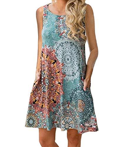 Aooword-women clothes Bolsillos de ajuste flexible sin mangas con estampado floral vestido...