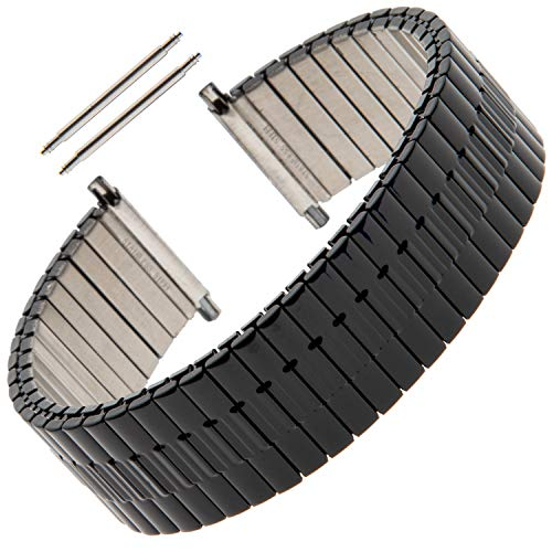 Gilden Gents Expansion Extra Long 20-24mm Wide Black Stainless Steel Watch Band 552W-BL (7 1/2 inches long, Black)