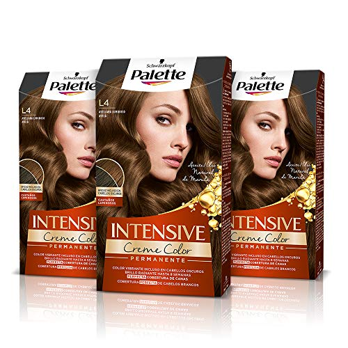 Palette Intense Cream Coloration Intensive Coloración del Cabello L4 Avellana Luminoso - Pack de 3