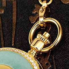 Nature Emerald Jade Gold Dragon Pocket Watch Vintage Roman Numerals Quartz Watch with Chain As Xmas Day Gift,2 #1