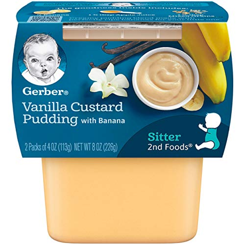 Gerber 2nd Foods Vanilla Custard Pudding With Bananas Pureed Baby Food, 4 Ounce Tubs, 2 Count (Pack of 8)