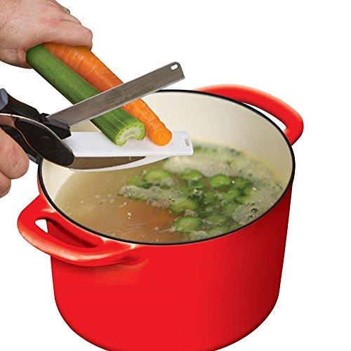 Ouba Clever Kitchen Cutter cuisine Ciseaux Chef 2-en-1 Cuisine en Acier Inoxydable de Coupe Ciseaux Conseil de Coupe Couteau Chopper, Couteau Cut, Carve Viande, Fromage, Couteau de Fruits, de Légumes Tous les Ingrédients de Cuisine Cuisine Helper (9.8X2.8X1.2) pouces