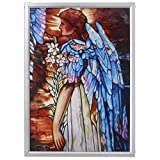 Design Toscano GM1011 Stained Glass Panel - The Angel of Light Stained Glass Window Hangings - Art Glass Window Treatments,