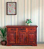 BM WOOD FURNITURE Wooden Sideboard Cabinets for Living Room | Kitchen Chest of Drawer with 3 Cabinet & 3 Drawer |...