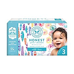 The Honest Company Super Club Box Diapers with TrueAbsorb Technology, Rose Blossom & Painted Feather