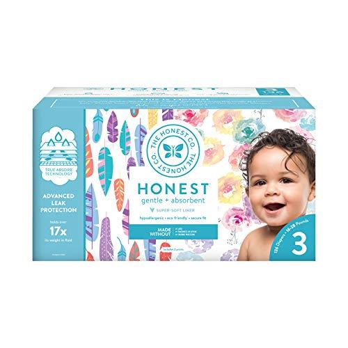The Honest Company Super Club Box Pañales con tecnología TrueAbsorb, flor de rosa y plumas pintadas, tamaño 3, 136 unidades