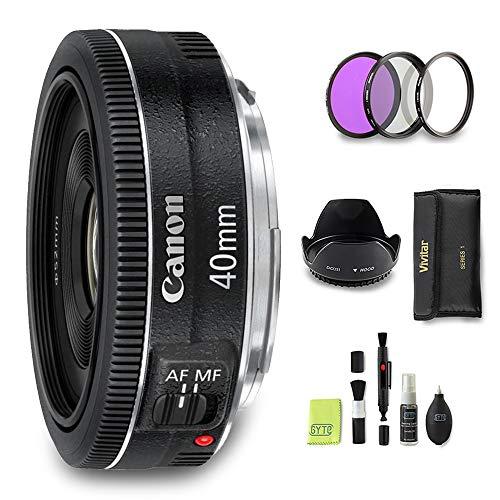 GYTE Bundle | Canon Objektiv - EF 40mm 1:2.8 STM - Pancake Objektiv für Canon Spiegelreflexkamera + 3-teiliges Filterkit + Streulichtblende + Reinigungsset | Premium Zubehör Bundle