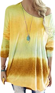 Women's Long Sleeve Shirt Gradient Color Tunic Blouse Tops Casual Loose Pullover Blouse