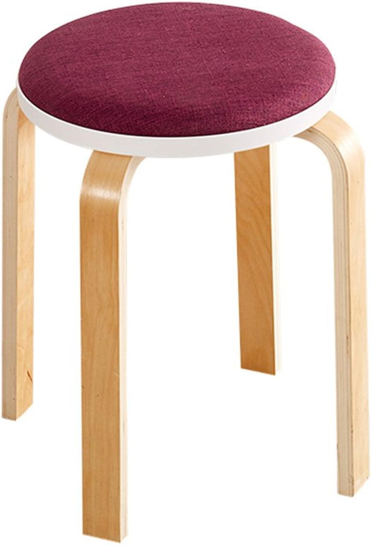 YQQ Chair Wood + Linen Diameter 32CM  High 45CM Multiple Colour Modern Minimalist Style (color   Purple)