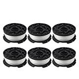 """Thten AF-100 Weed Eater Spools Compatible with Black Decker GH900 GH600 String Trimmer Replacement Spool Refills 30ft 0.065"""" Auto-Feed Single Lines Edger Parts Grass Trimmers (6 pcs)"""