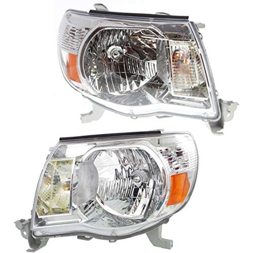 Make Auto Parts Manufacturing Set of 2 Driver & Passenger Side Headlights Assembly Clear Lens For Toyota Tacoma Without Sport Package 2005 2006 2007 2008 2009 2010 2011 - TO2503157 TO2502157