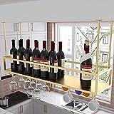 WYFZT Botelleros de Techo Estante de Vino de Metal Soportes para Copas Sostenedor del Vidrio de Vino cubilete Colgando Bar Escritorio gabinetes/armarios - para Restaurante o cafetería vajilla