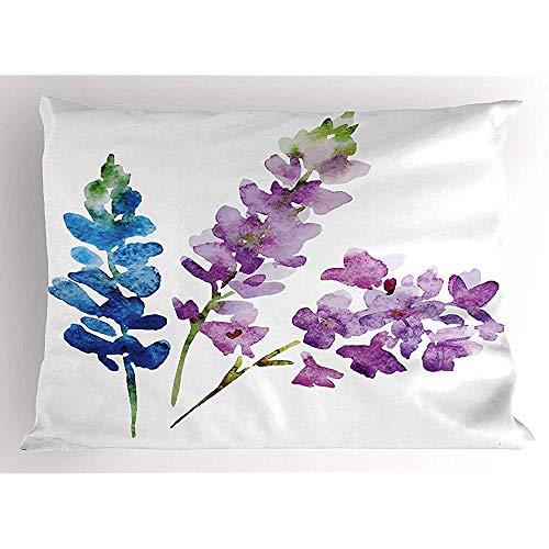 Funda de Almohada Floral Ramas de Flores de Acuarela en Tonos de Primavera Color Lavanda y Ramo de violetas - Tamaño de Almohada Decorativa Suave 18 Pulgadas * 18 Pulgadas