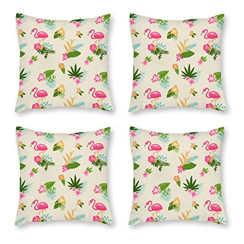 None-brands Farmhouse Throw Pillow Covers 18x18 Inch Set Of 4, Throw Cushion Case Holiday Decor Cotton Canvas For Sofa Magenta Flower Botany Pink