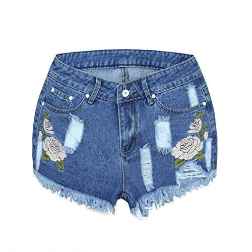 Adelina short jeans vrouwen met jeans dames jeans mode meisjes elegante modieuze jeansshort hoge zomerbroek taille bloemen denim shorts gedragen losse jeans shorts