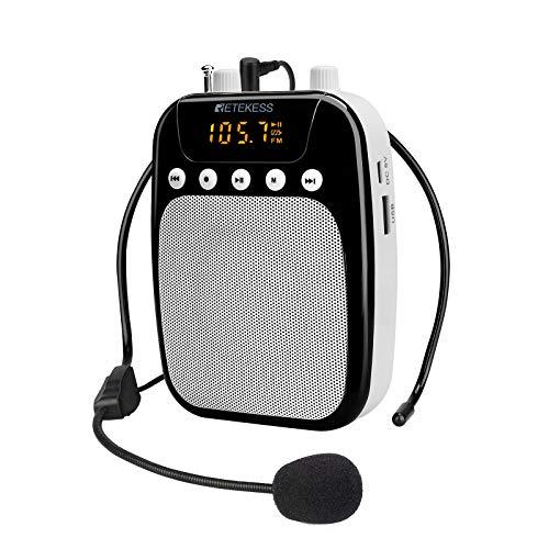 Retekess TR623 Amplificador de Voz Portátil con Micrófono (10W), Radio FM, Grabación, con Batería Recargable de 1800mAh, Soporte USB, TF, AUX, para Profesores, Discurso, Actividades al Aire Libre