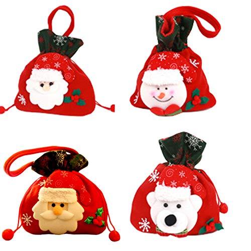 4 Pezzi Sacchetto regalo di Natale carino Sacchetto di caramelle bambola tridimensionale Borsa regalo di Natale Decorazioni natalizie Sacchetti Regalo in Tessuto 3D per Forniture per Feste di Natale