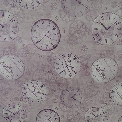 DecoHomeTextil Restposten Wachstuch Wachstischdecke Tischdecke Uhr Lila Eckig 140 x 260 cm Muster & Größe wählbar abwaschbar