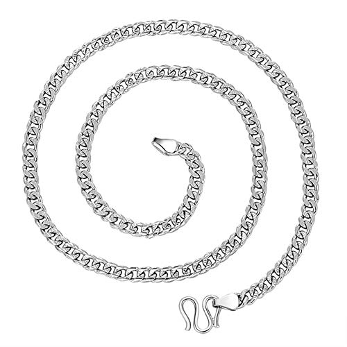 KnBob Men Curb Necklace Chain 5mm Chain Necklace 925 Sterling Silver 20