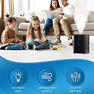 Everlasting Comfort Cool Mist Humidifier for Bedroom (4L) - Filterless - Whisper Quiet - Includes Essential Oil Tray (Black)