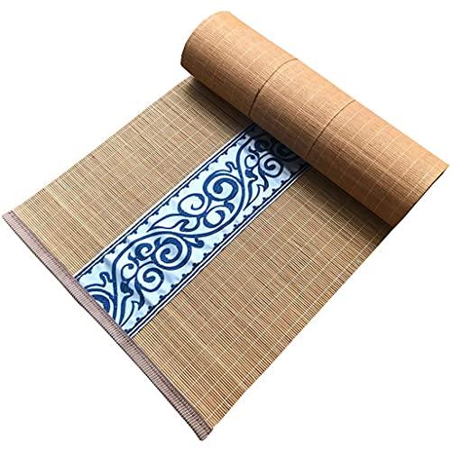 JY&WIN Camino de Mesa de bambú para Mesa de Comedor Camino de Mesa de diseño de Bordado Antideslizante Impermeable para Picnic al Aire Libre Limpiar con un paño 30x180cm / 12x71in