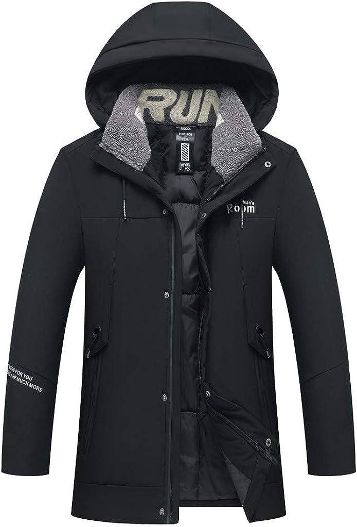 DIOMOR Mens Fleece Lining Full Zip Down Jacket Hooded Coat Outdoor Hiking Parkas Waterproof Outerwear