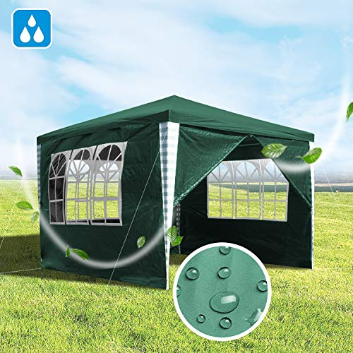 Hengda 3x3m Garden Gazebo Marquee Tent UV Protection Party Tent, Outdoor Event Dome Shelter with Side Panels Easy to Install, Green