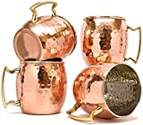 Hammered Moscow Mules Mug 560 ML/18 oz - Set of 4, Inside Nickle (Free 4 pcs Wooden Coaster + 4 PCS copper straw )