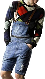 Babao Men's Short Denim Dungaree, Jeans Bib Overall Shorts Distressed Retro Removable Jumpsuit Regular Fit Playsuit