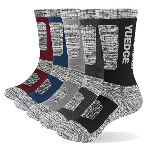 YUEDGE Mens 5Pairs Cotton Cushion Crew Athletic Sports Socks for Working Hiking