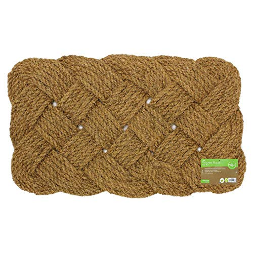 JVL Natürliche Kokosfaser 45x 75cm Hand Made Indoor Outdoor geknotetes Seil Tür Fußmatte, braun