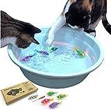 猫のおもちゃ、(6個)ロボット魚 自動水泳 LED魚 肥満解消 LEDライト付き猫用インタラクティブスイミングロボット魚のおもちゃ、猫のハンターの本能を刺激する電子猫のおもちゃ