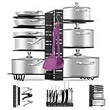 Pan Pot Organizer Rack, MASSUGAR Pan Organizer Adjustable Pot Rack with Hook, Black Metal Kitchen Cabinet Pantry Pot Lid Holder, 3 DIY Methods (Black)