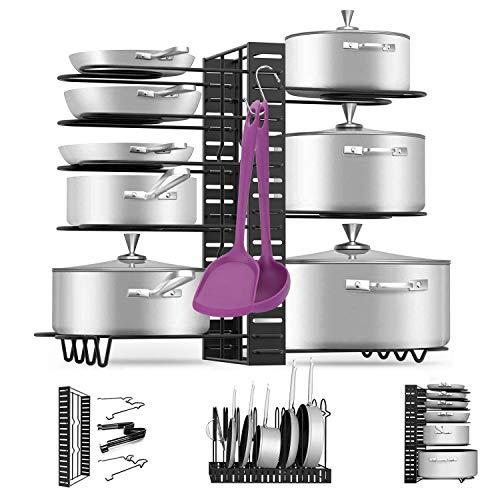 Pan Pot Organizer Rack MASSUGAR Pan Organizer Adjustable Pot Rack with Hook Black Metal Kitchen Cabinet Pantry Pot Lid Holder 3 DIY Methods Black
